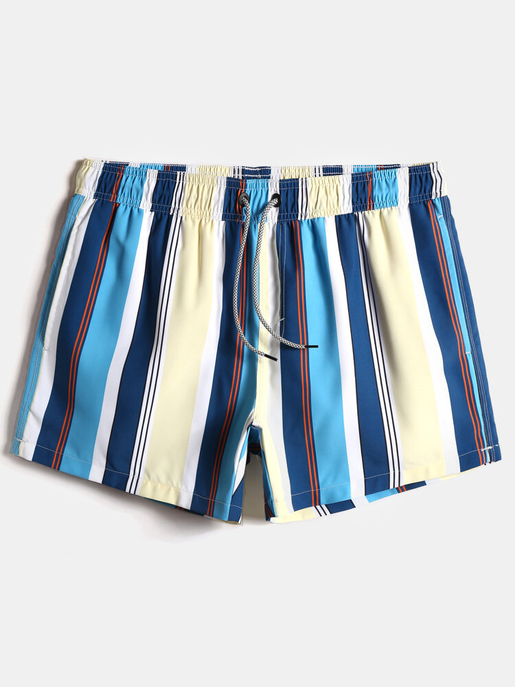 Mens Multicolor Striped Quick Dry Drawstring Swim Trunks With Pocket