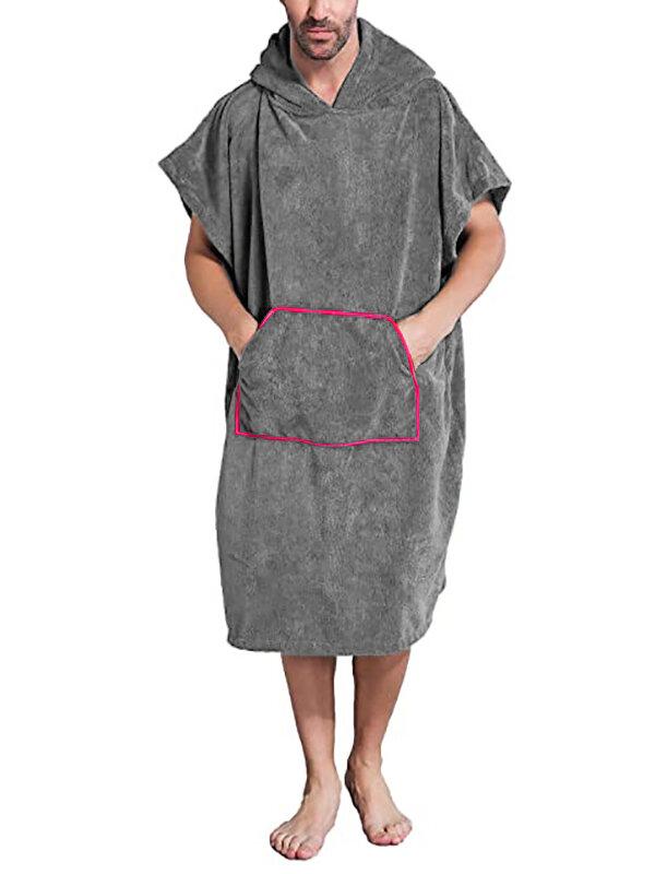 Men Flannel Sleeve Hooded Robes Oversize Cozy Bathrobes Pajamas Loungewear