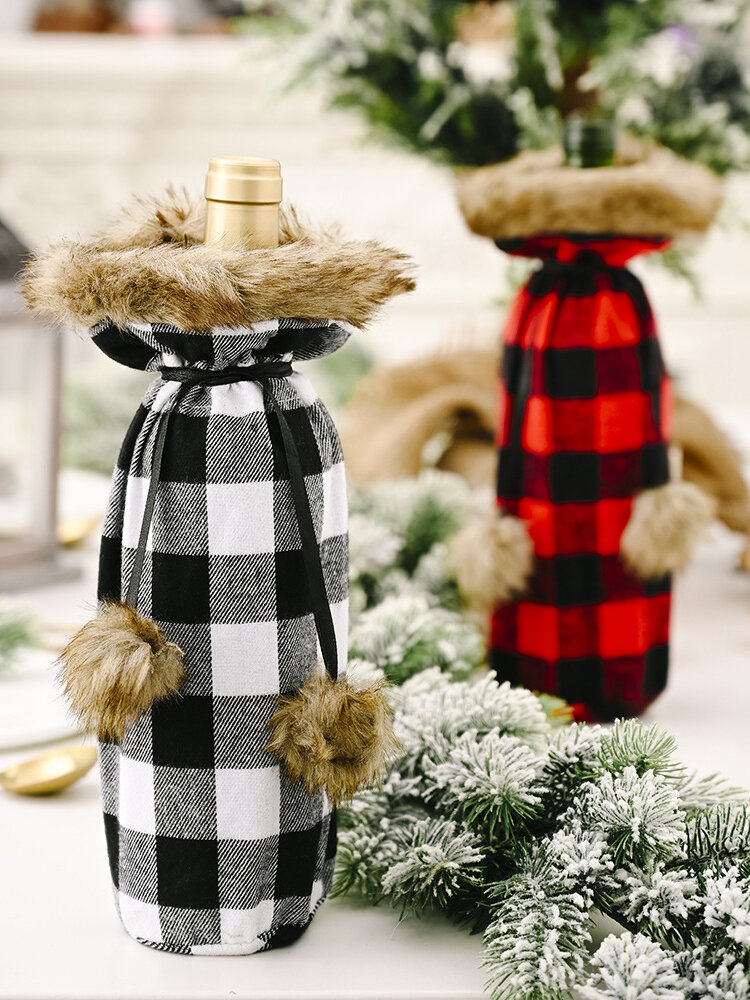 Newchic coupon: 1 Pc Christmas Pompoms Plaid Wine Bottle Bag Red Wine Champagne Christmas Table Decorations