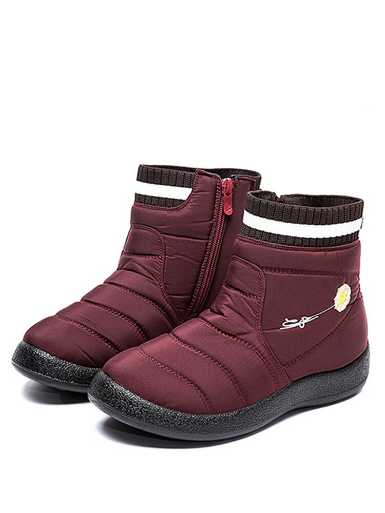Women's Solid Color Daisy Pattern Large Size Waterproof Warm Lining Zipper Casual Snow Boots