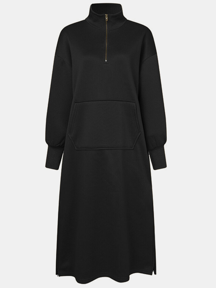 Solid Color Zipper Pocket Long Sleeve Casual Dress for Women