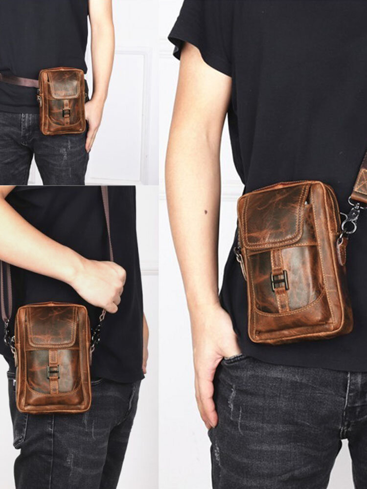 Men Genuine Leather Multi-carry Retro 6.5 Inch Phone Bag Waist Bag Crossbody Bag Sling Bag
