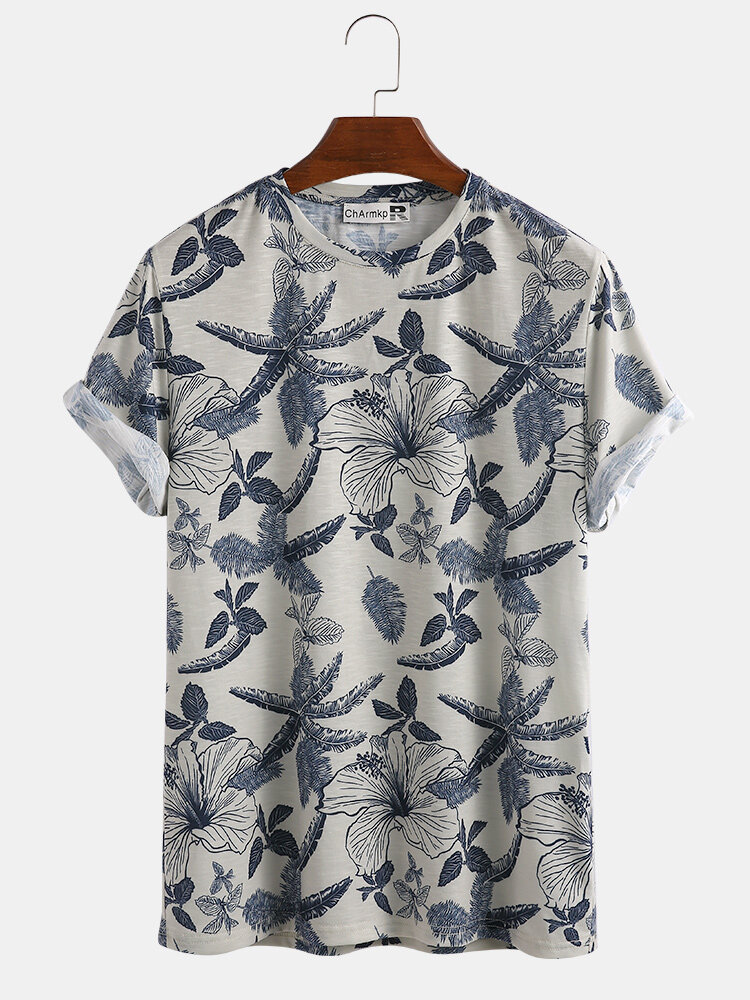 Mens Plain Tropical Flower Leaves Casual Home Crew Neck T-shirt