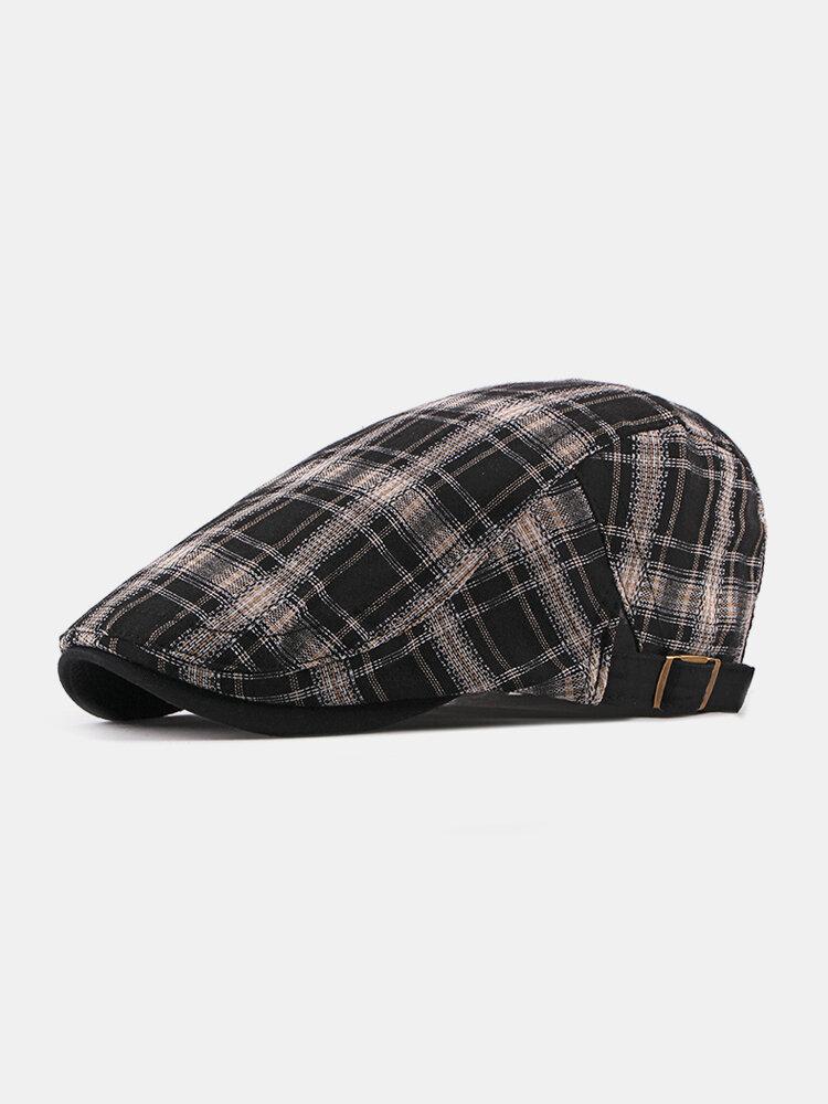 Mens Plaid Cotton Cap Casual Breathable Vogue Adjustable Sunscreen Beret Cap