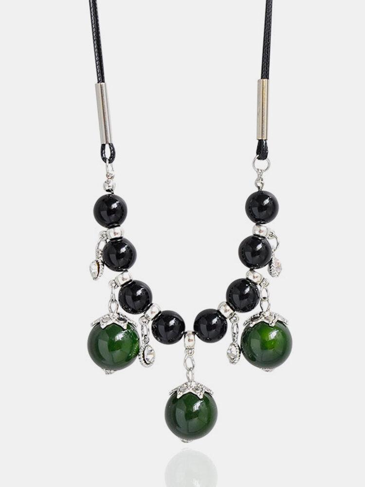 Ethnic Women's Necklace Acrylic Zircon Ball Necklace