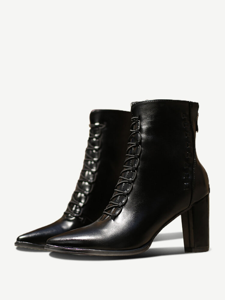 Plus Size Women Pointed Toe Lace Up Back Zipper Chunky Heel Short Boots