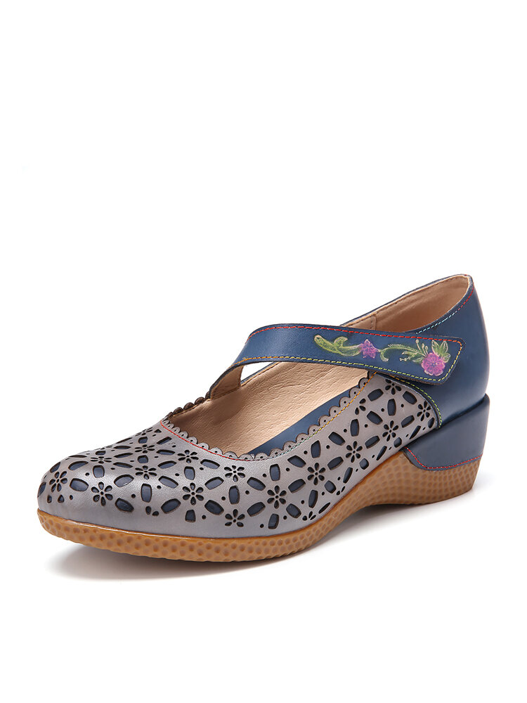 SOCOFY Retro Leather Floral Cutouts Embossed Floral Round Toe Wedge Pumps