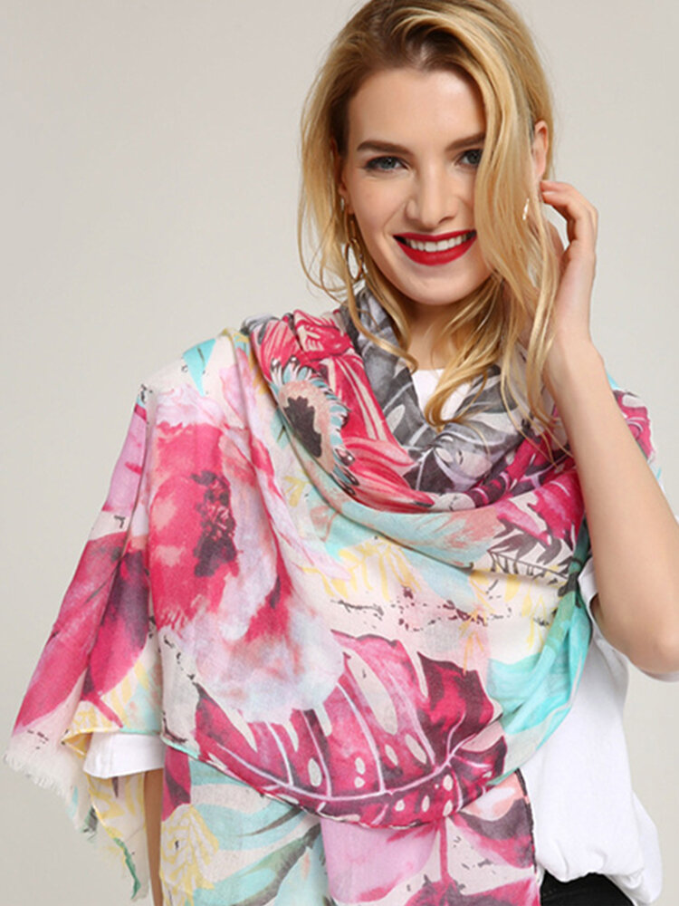 Women Ethnic Style Priting Cotton Scarf Shawl Plus Size Casual Vacation Fashion Breathable Scarves