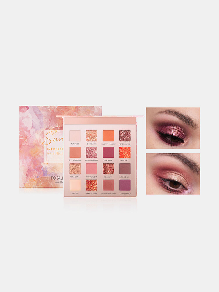 16 Colors Matte Eyeshadow Palette Earth Color Pearlescent Easy to Wear Eye Makeup