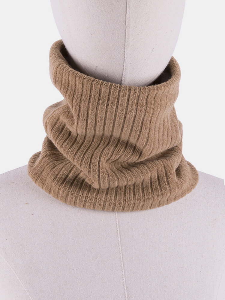 Men Winter Scarf Wool Plush Knit Thick Windproof Warm Vintage Outdoor Ski Cycling Scarf