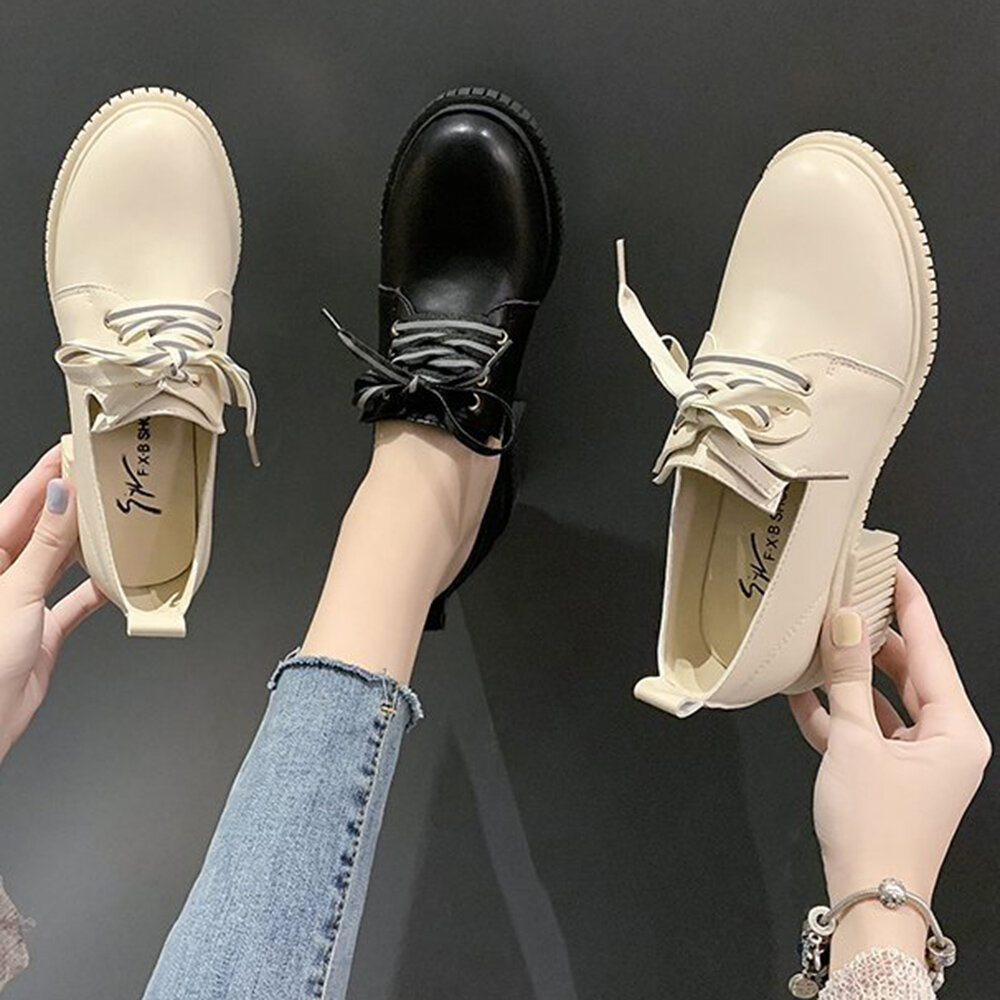 Women Classic Comfort Slip Resistant Solid Color Lace Up Round Toe Heels