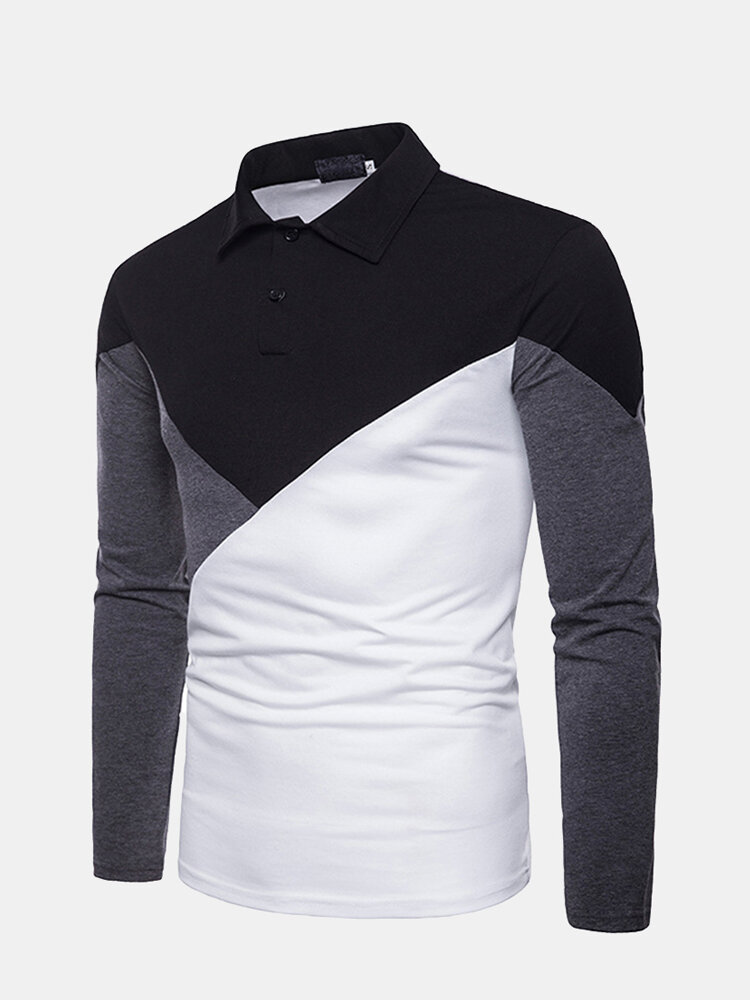 Casual Three Basic Colors Patchwork Henry Collar Slim Long Sleeve Golf Shirts for Men