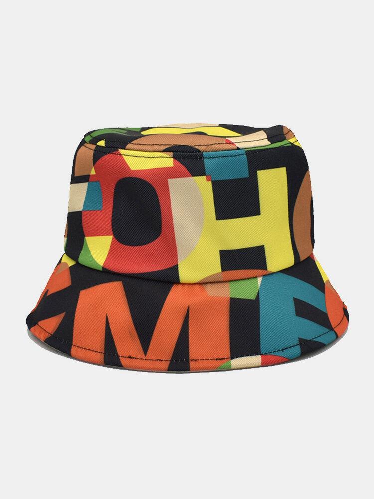 Lettera in cotone unisex Modello Stampa Colorful Cappello da pescatore fashion