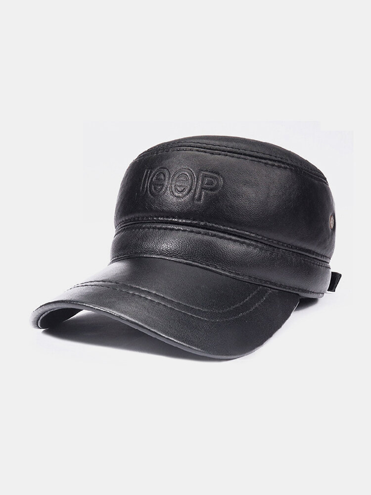 Men's Leather Top Layer Cowhide Dome Big Eaves Warm Autumn Winter Thickening And Cotton Earmuffs Baseball Hat