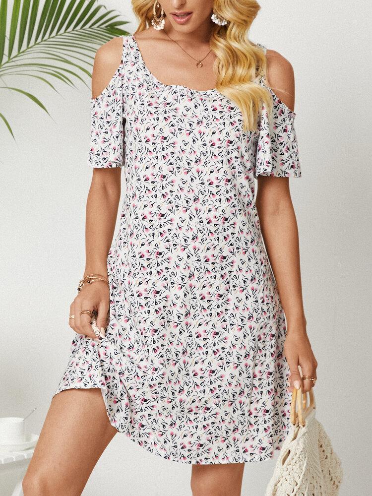 Floral Print Short Sleeve Off-shoulder Dress for Women