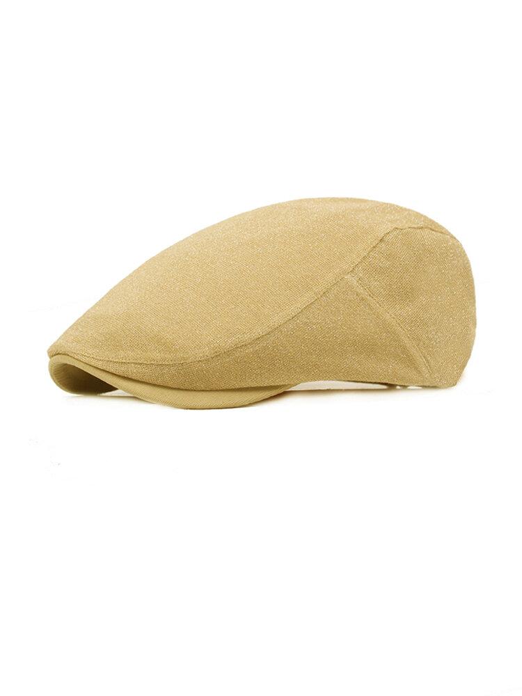Women Mens Cotton Sequins Solid Beret Caps Casual Sunshade Forward Hat Peaked Cap Adjustable