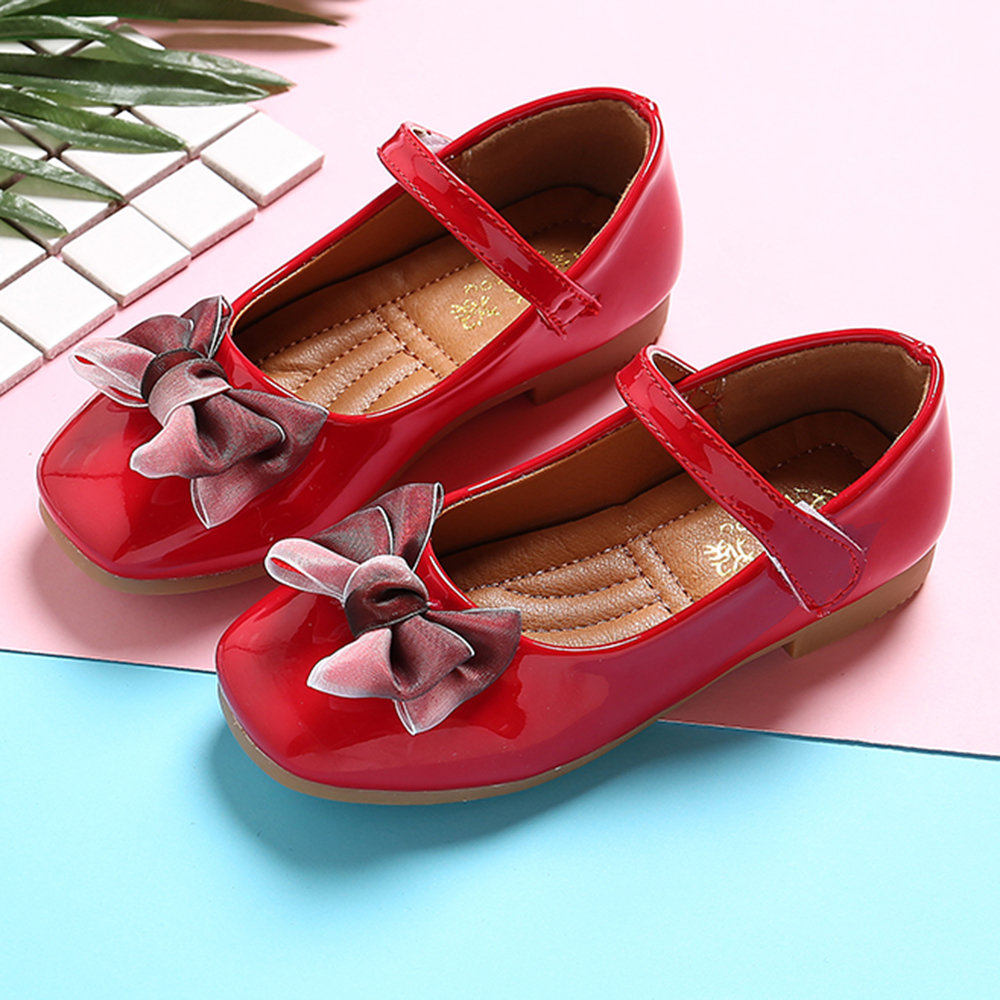 Zapatos de vestir planos con lazo de gancho de color sólido para niñas de Bowknot