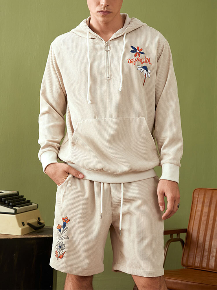 Mens Corduroy Floral Embroidered O-Ring Zip Hoodie Two Pieces Outfits