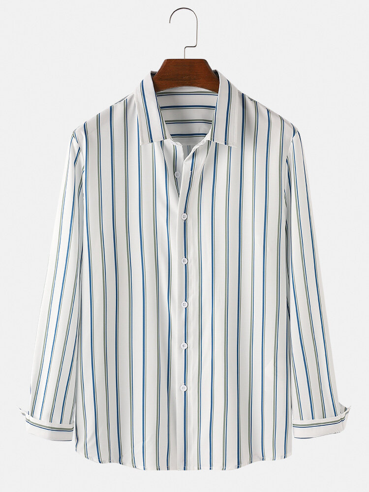 Mens Simple Style Striped Casual Comfortable Fit Long Sleeve Shirts In Blue