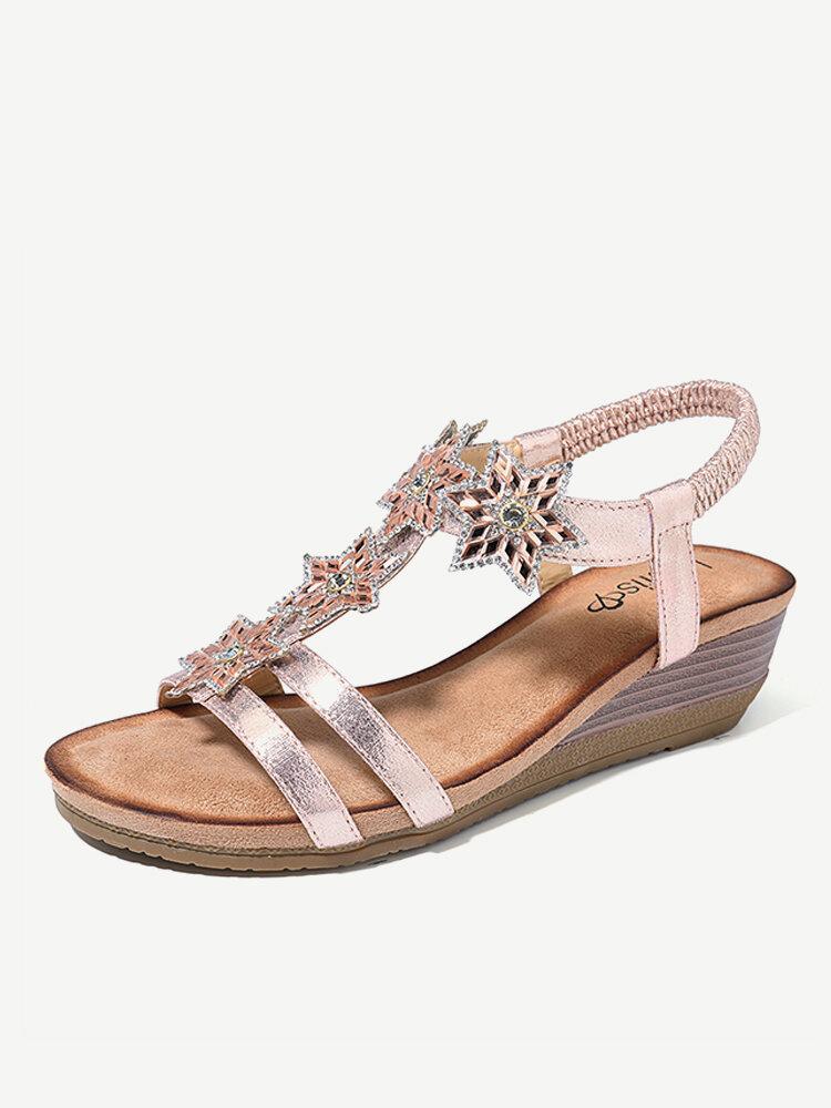 Sandales compensées romaines à bout ouvert évidé à motif étoile