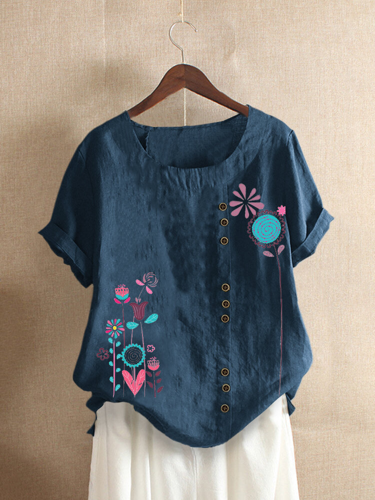 Floral Printed O-Neck Short Sleeve Button T-shirt For Women