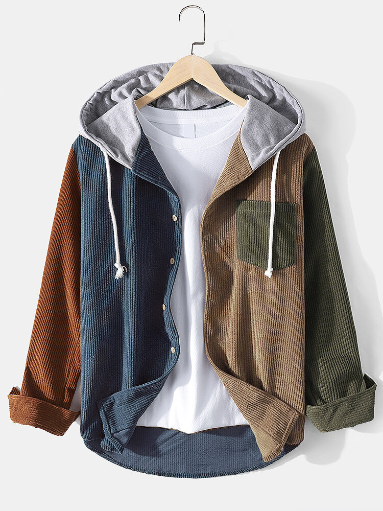 Mens Corduroy Colorblock Stitching Drawstring Hooded Shirt With Pocket