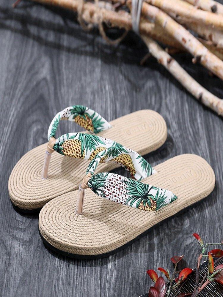 Womens Clip Toe Floral Massage Soles Beach Flats Slippers