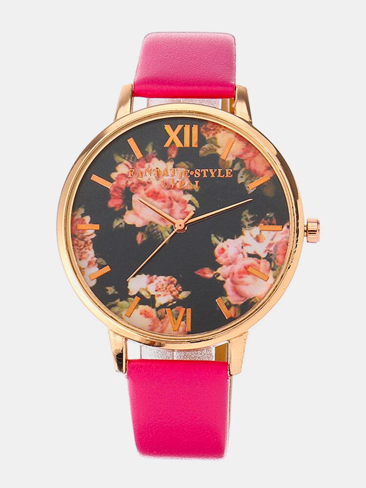 LVPAI Retro Women's Watch Vintage Flower Leather Watch pour cadeau