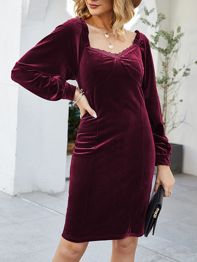 Solid Square Collar Long Sleeve Zip Guipure Lace Casual Dress