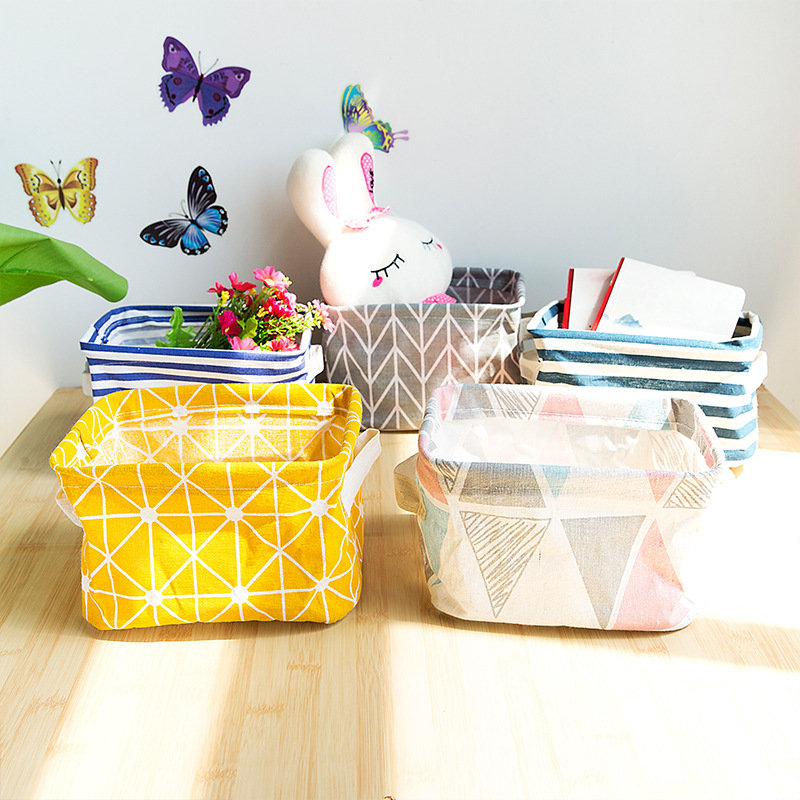 Cute Colorful Snack Table Toy Storage Basket Foldable Cotton Line Home Bag Portable Office Container