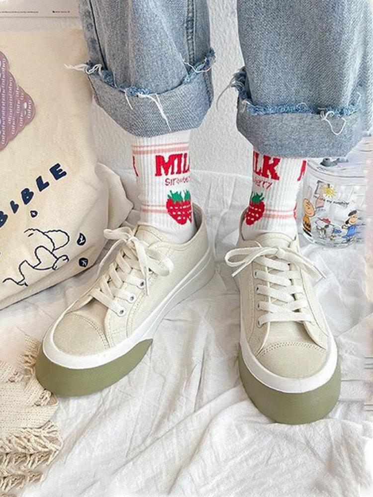 Women Casual Fashion Round Toe Comfortable Platform Skate Shoes