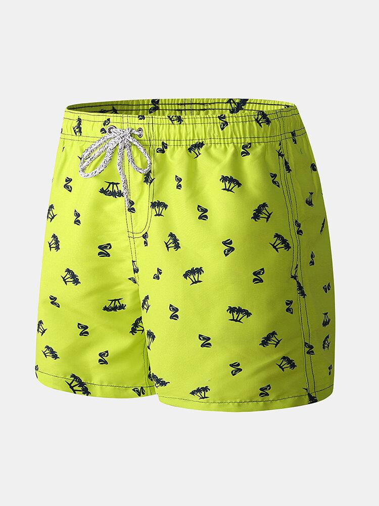 Green Print Mini Shorts Drawstring Quick Dry Surfing Swim Shorts Casual Print Shorts for Men