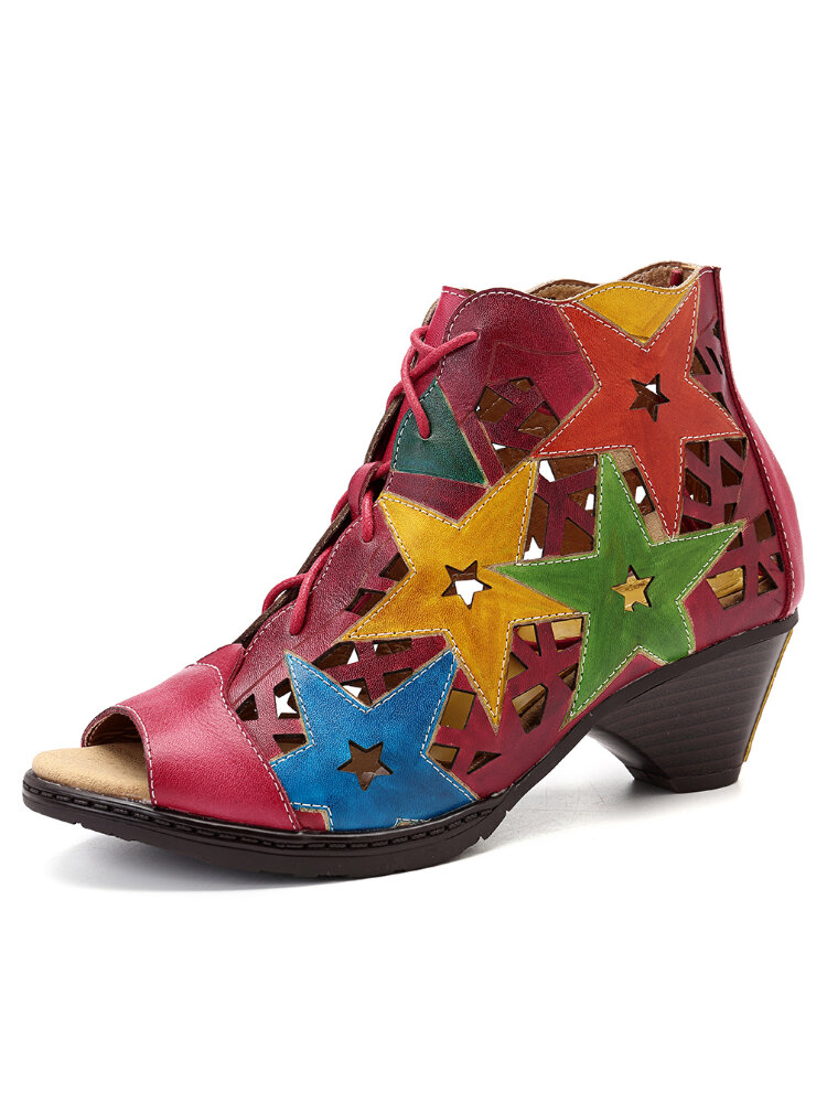 SOCOFY Hand Painted Colorful Genuine Leather Hollow Irregular Star Pattern Lace Up Sandals