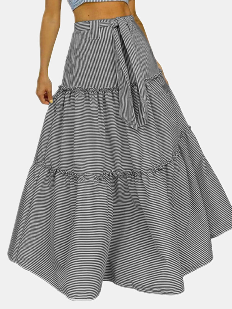 Striped Print Pleated Waistband Knotted Long Casual Skirt for Women