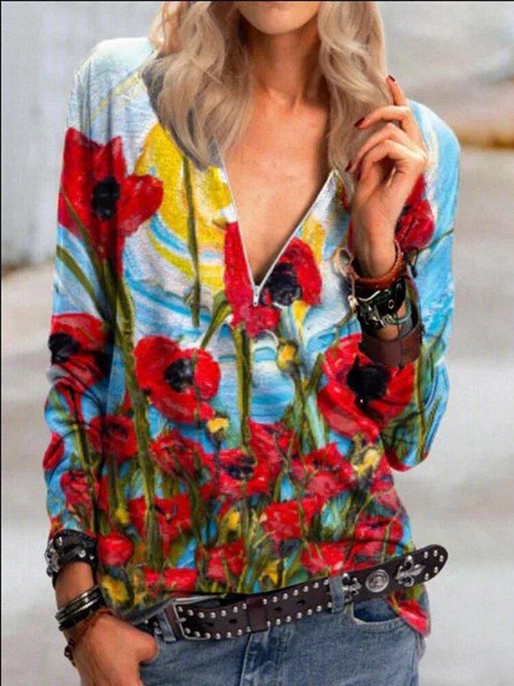 Flower Print V-neck Long Sleeve Vintage Blouse For Women