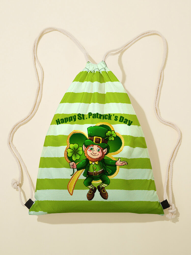 Women Green Clover Striped Figure Pattern Happy St Patrick Day Pattern Print Drawstring Bag Backpack