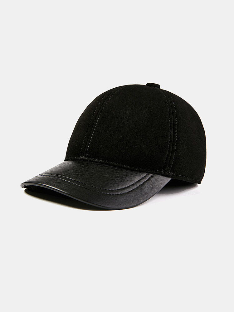 Men And Women Single Skin Thin Sheepskin Baseball Cap Leather Hat Tide