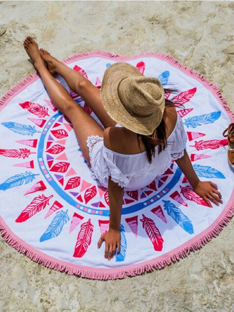 丸いマンダラビーチタオルタペストリー壁掛けタオルビーチヨガマット装飾を投げる