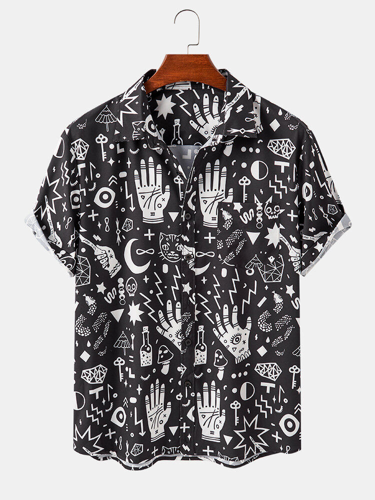 Mens Abstract Element Pattern Print Short Sleeve Breathable Shirts