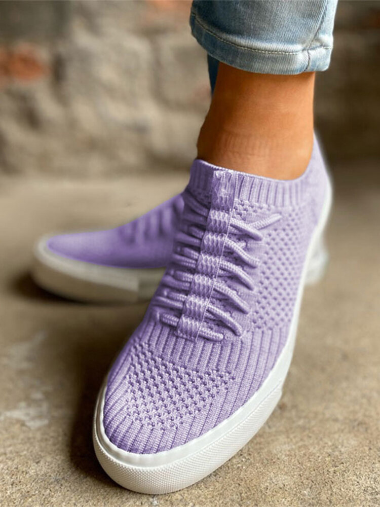 Large Size Soft Comfy Breathable Solid Color Knit Elastic Band Sneakers For Womens