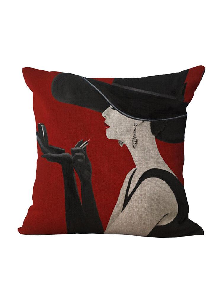 1 funda de almohada de algodón cuadrada decorativa de estilo romántico elegante Mujer Coche funda de cojín funda de almohada