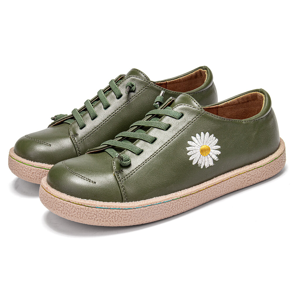 Women Daisy Embroidered Comfy Soft Wearable Casaul Lace-up Front Flat Shoes