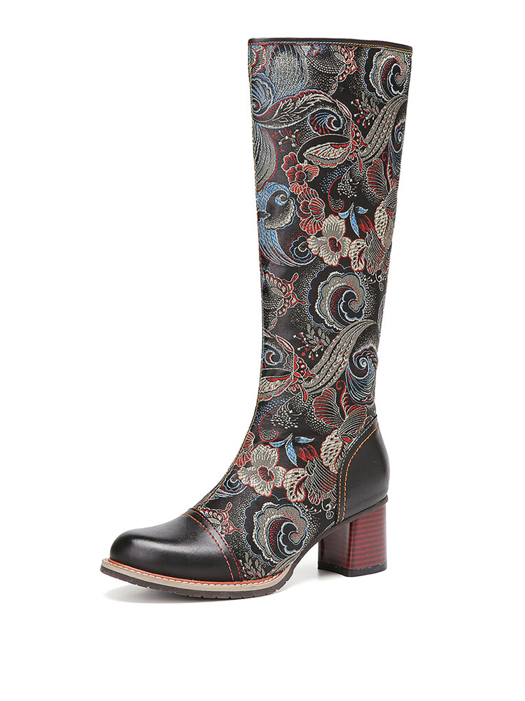 SOCOFY Floral Printed Cowhide Leather Warm Non Slip Casaul Mid-calf Boots