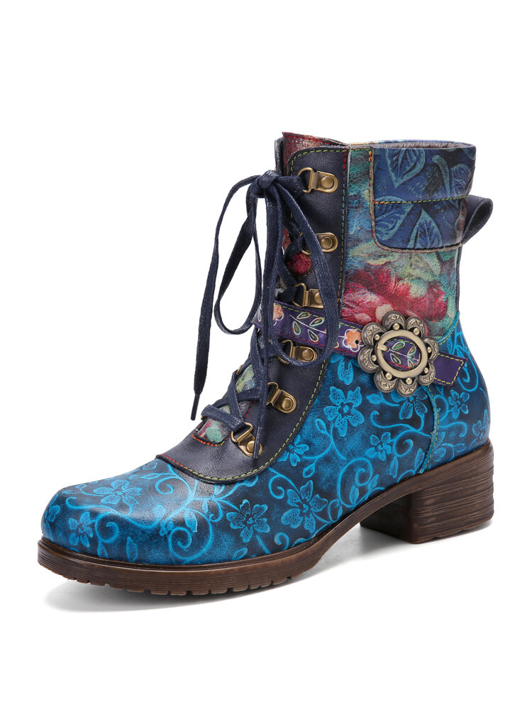 Socofy Retro Floral Print Genuine Leather Patchwork Lace Up Side Zipper Chunky Heel Short Boots