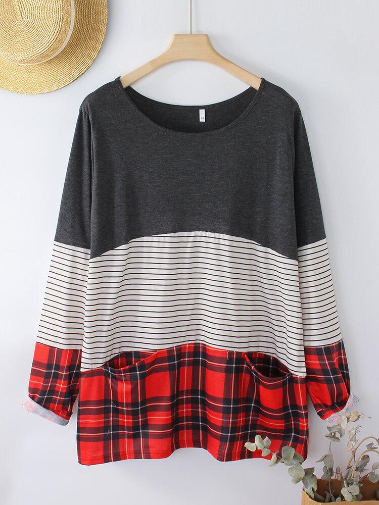 Striped Plaid Print Long Sleeves Casual Sweatshirt For Women