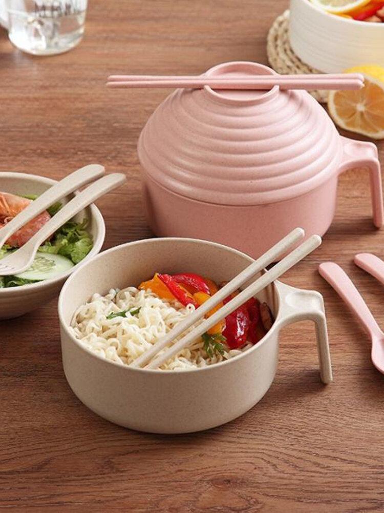 Обед с лапшой быстрого приготовления из пшеничной соломы Коробка с крышкой, чаша, палочки для еды, ложка, вилка, набор посуды