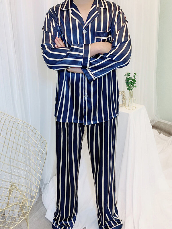 Navy & Red Striped Lapel FauxSilk Smooth Pajamas Two Piece Chest Pockets Sleepwear For Men
