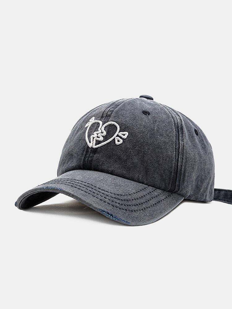 Unisex Washed Distressed Cotton Love Embroidery All-match Sunscreen Baseball Cap