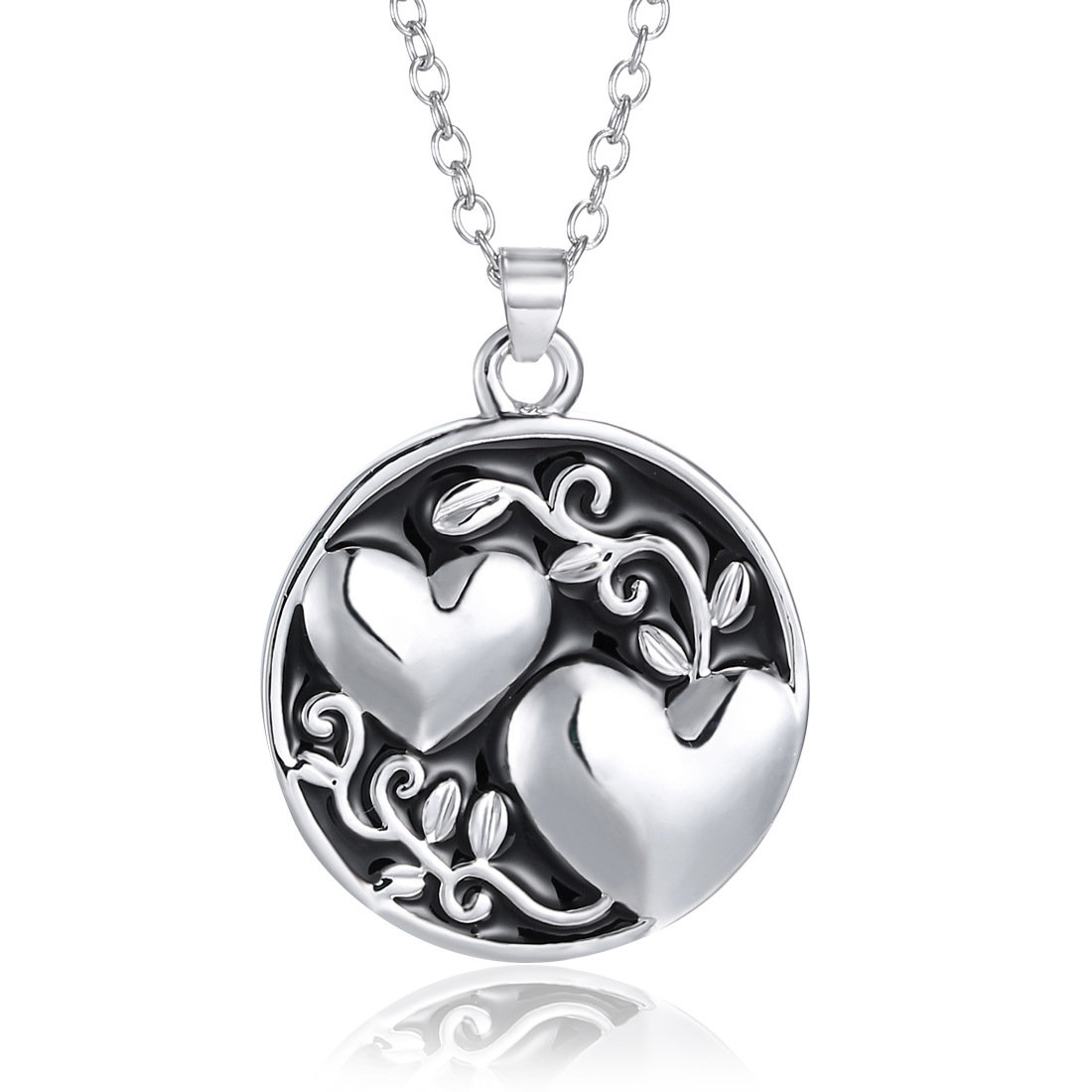 Trendy Silver Heart Round Shaped Engraved Letter Pendant Necklace Gift for Women