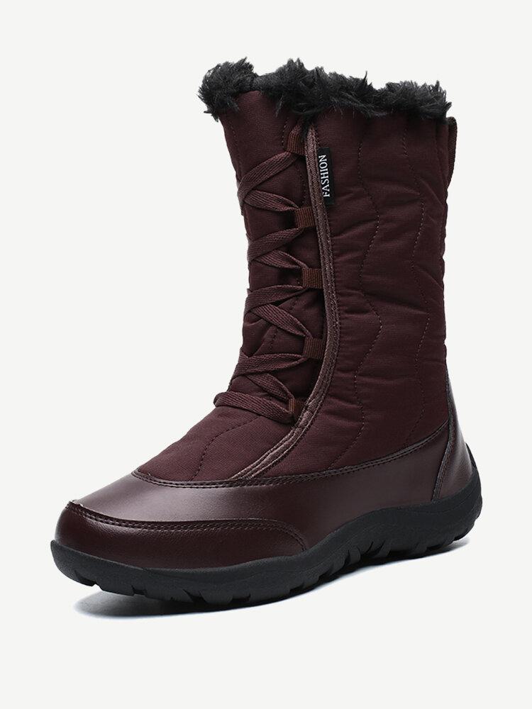LOSTISY Women Winter Warm Plush Waterproof Cotton Lace Up Mid Calf Snow Boots